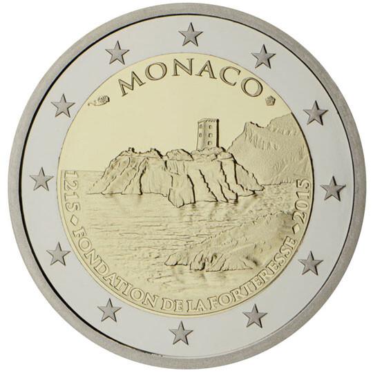 Moeda comemorativa dos 800 anos do primeiro castelo no rochedo do Mónaco Emitida em 2015 no Mónaco, foram cunhados apenas 10 mil exemplares. Está à venda por 923 eu