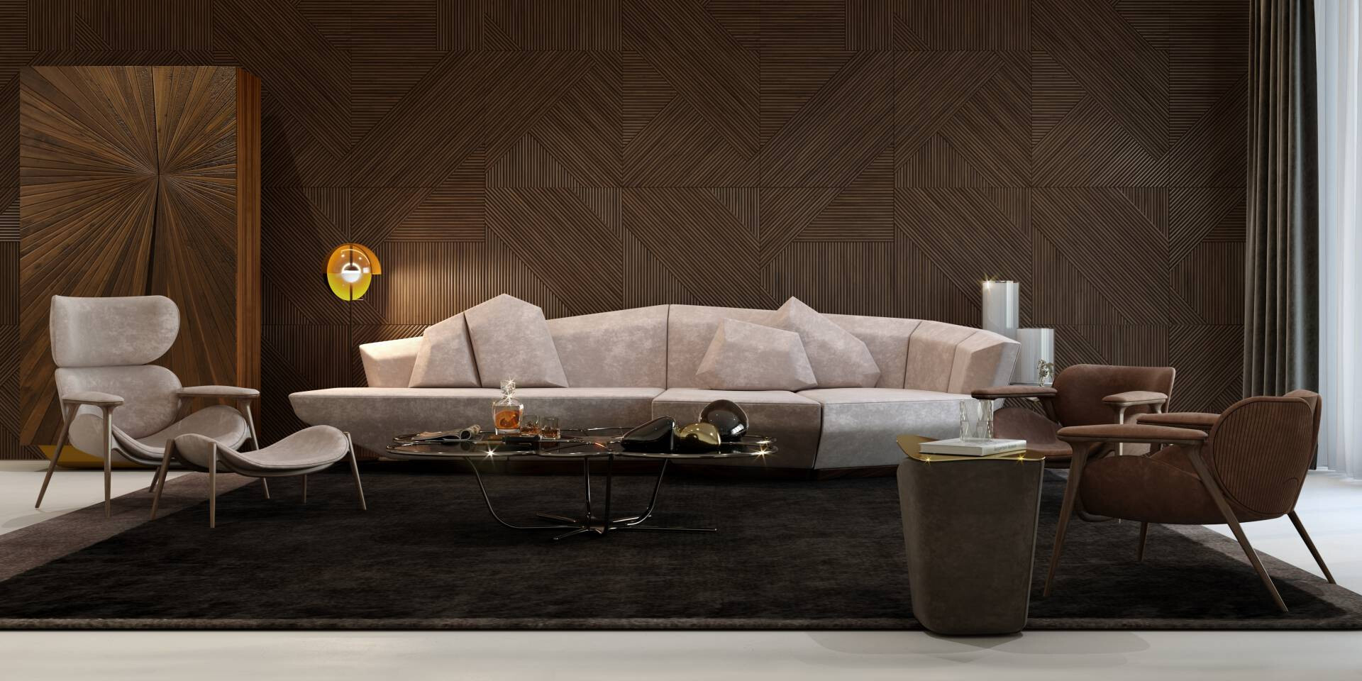Brown tones LUXURY living room with naturalness and peaceful feeling