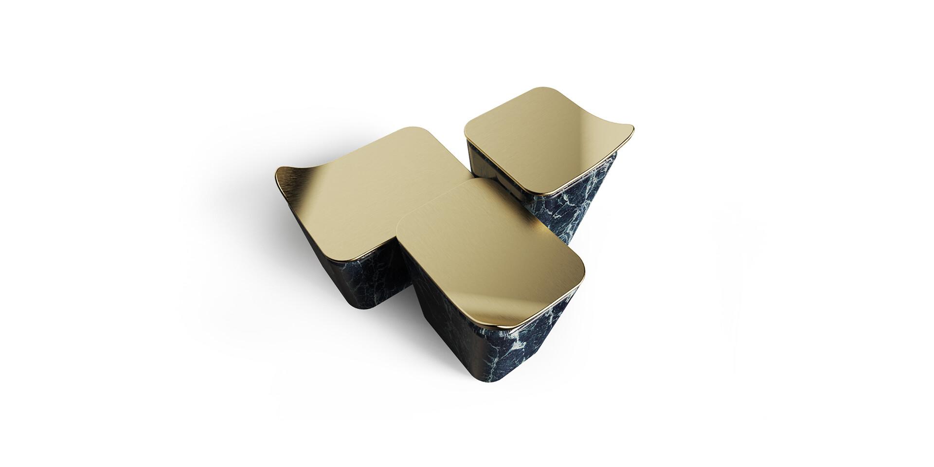 MASOULEH COFFEE TABLE top view brass ALMA de LUCE