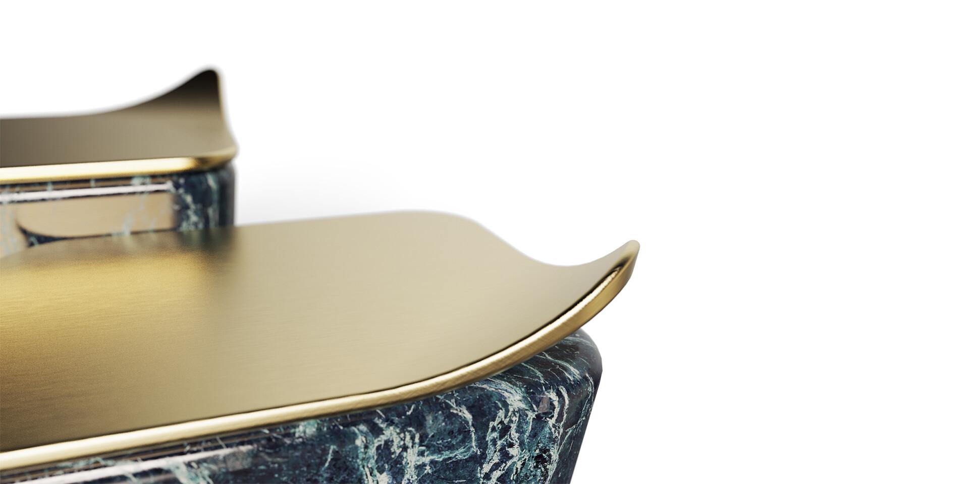 MASOULEH COFFEE TABLE detail view brass ALMA de LUCE