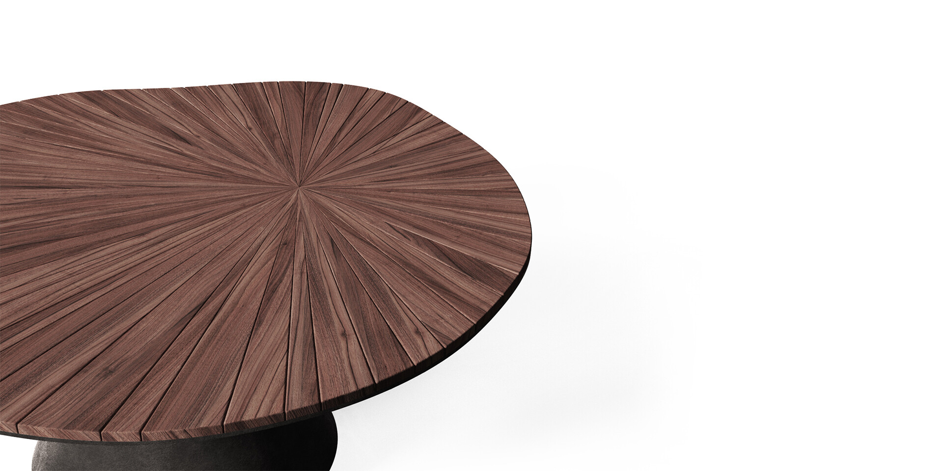 DARVAZA DINING TABLE detail top side view ALMA de LUCE