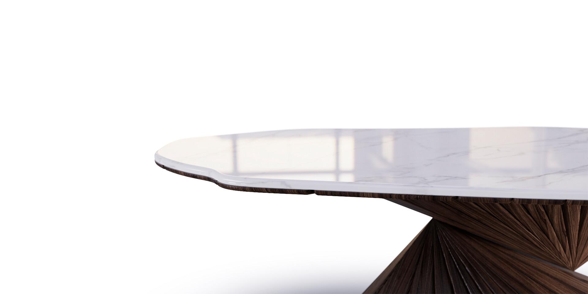BONSAI DINING TABLE Front Detail view ALMA de LUCE